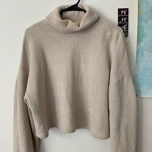 Loose cropped turtle neck sweater
